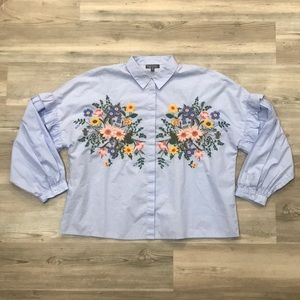 Topshop Floral Embroidered Ruffled Sleeve Blouse
